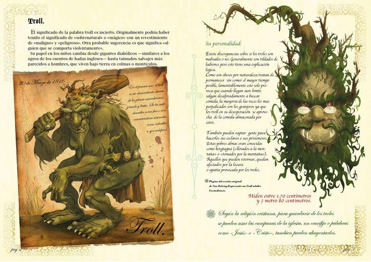 Paginas del libro de cuentos relacionados al Archivero Monstruoso de Van Helsing