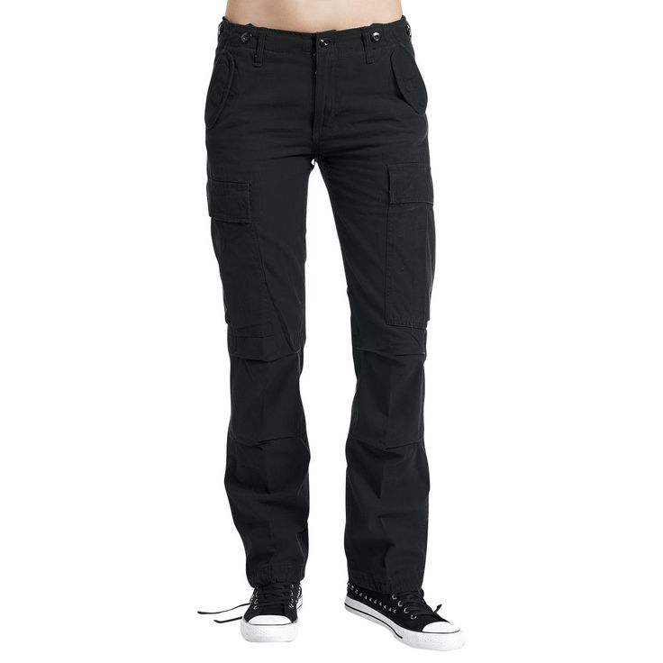 The M65 Ladies Trousers are the female version of the legendary army trousers in Loose Fit: slight deeper cut and a loose fit leg. The pockets have a flap with poppers and the trousers have two slip-in pockets. Long straps are sewed on the side cargo pockets which can also be put in the big leg pockets to hide them. The trousers are pre-washed.   Extras: - drawstring casing in the leg hem  - waistband  - buttons for suspenders on the waistband  - pleats in the back of the knee