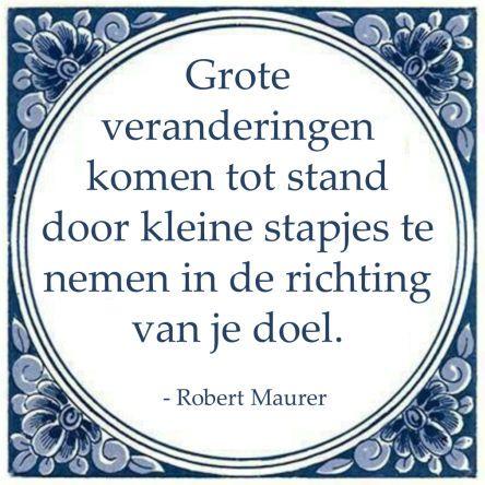Grote veranderingen komen tot stand door kleine stapjes te nemen in de richting van je doel. - Robert Maurer #kaizen #lean