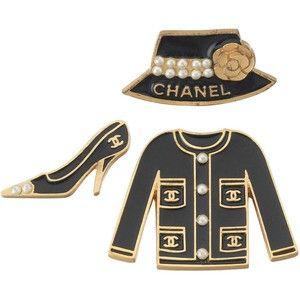 Set of Chanel Enameled Metal Jacket, Shoe Hat Pins w/CC Logo, Camilia Pearls