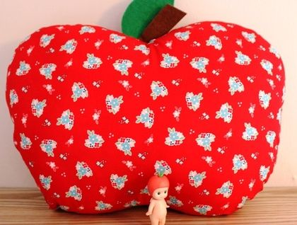 Red Floral Apple Cushion
