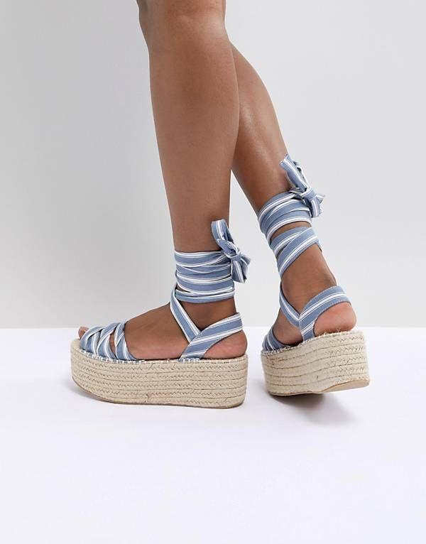 fb145ba8044 Boohoo Striped Flatform Espadrille Sandals