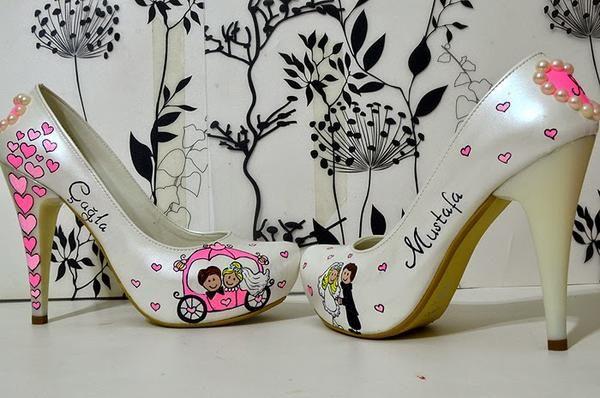Gizli Platform Karikatürlü Pembe Düğün Ayakkabı