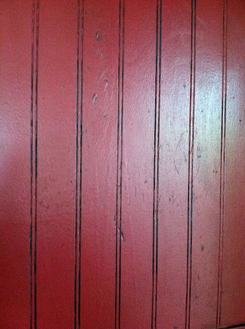 Red with black wax- cabinets...this is actually painted first, then a soft, black wax.