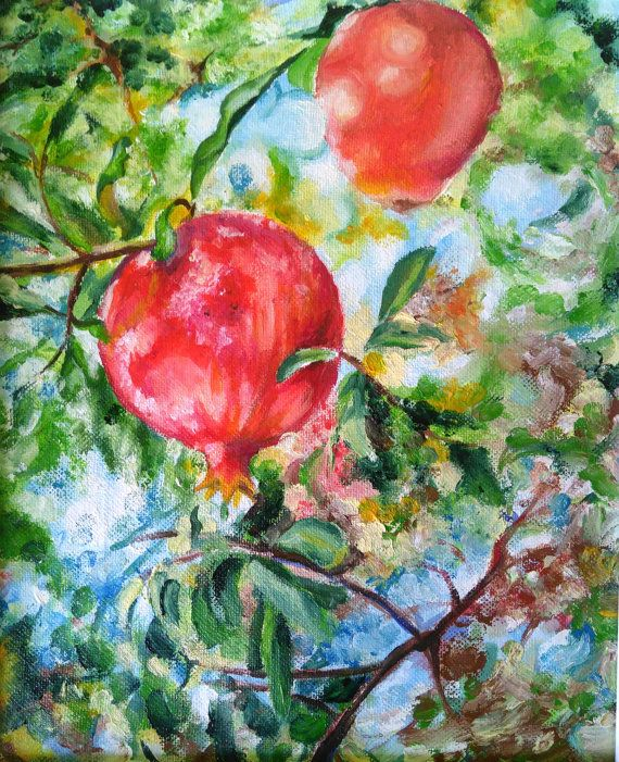 Red pomegranate Pomegranates branch by PaintingByAHeart on Etsy