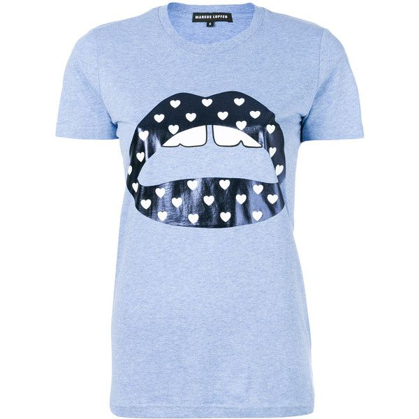 Markus Lupfer metallic lips print T-shirt ($120) ❤ liked on Polyvore featuring tops, t-shirts, blue, lips t shirt, metallic top, metallic tee, blue tee and markus lupfer tee
