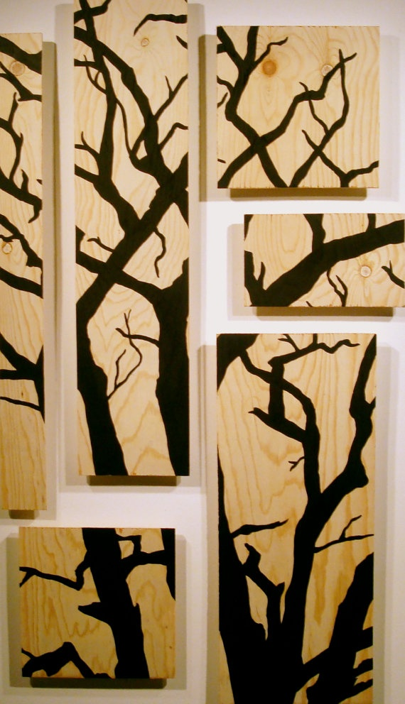 Tree painting. I like this idea for woodburning but will make the tree limbs willowy.