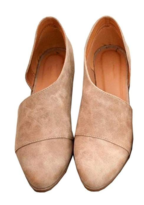 9a652817ac40c Amazon.com | FISACE Womens Casual Slip-On Loafer Pointed Toe Cut Out ...