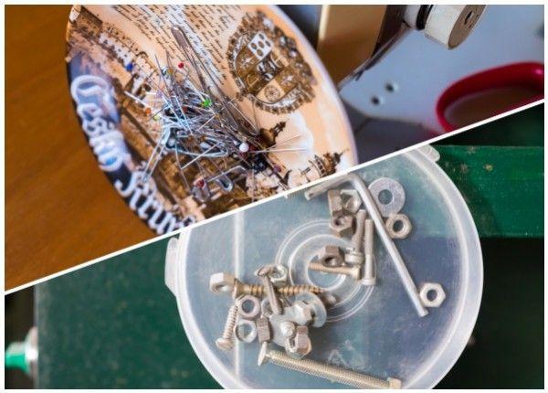 Využijte keramické, plastové či kovové misky, které vám doma přebývají. Vytvořte si magnetický držák na šroubky do dílny, na kancelářské sponky do pracovny nebo magnetický stojánek na šicí potřeby či pírka do vlasů. Mějte drobné kovové předměty vždy při ruce. Použijte jednoduchý návod.