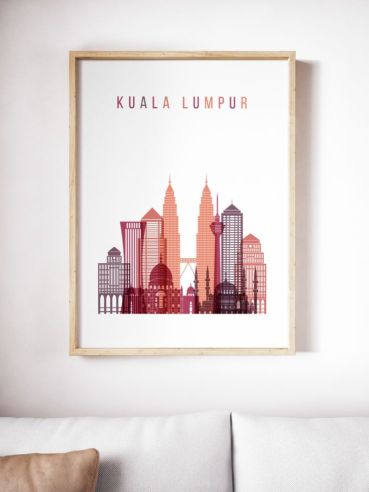 Kuala Lumpur City Skyline Art Malaysia From Malaysian