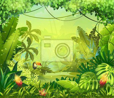 """Väggdekor """"Konst, lövverk, blomma - llustration med blommor och djungel toucan ✓ Ett stort urval av material ✓ Vi anpassar produkten till dina behov ✓ Kolla in våra kunders åsikter!"""