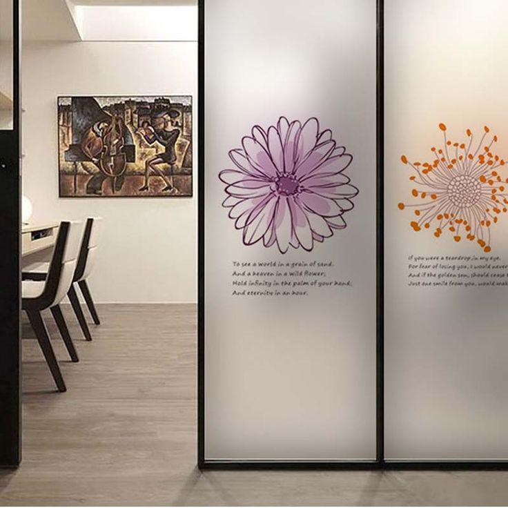 Aliexpress com buy flower wall sticker coffee shop transparent glass film window stickers decoration