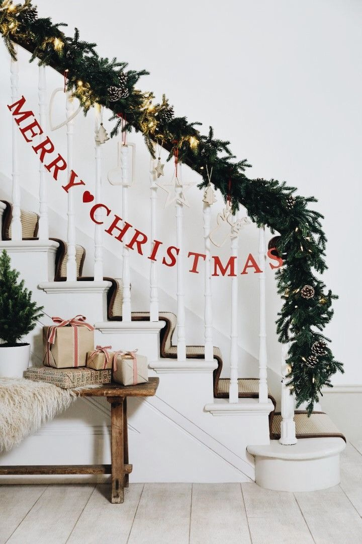 Stairs decorated for Christmas. Love it