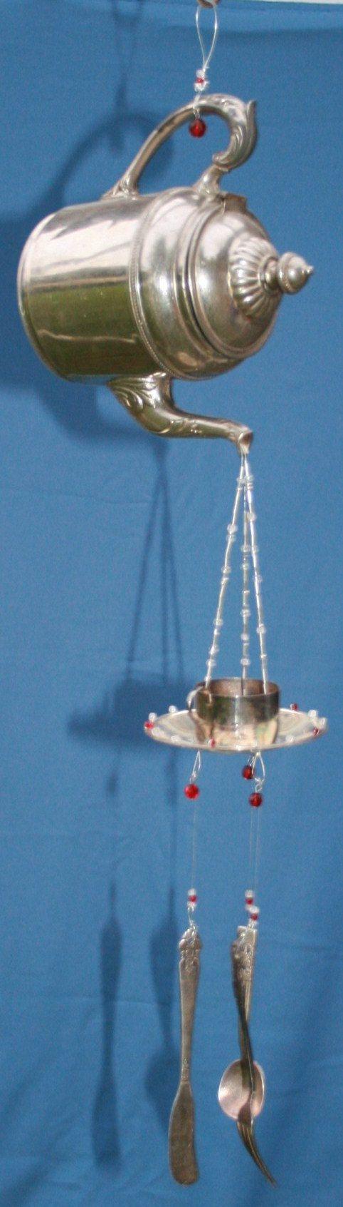 Amazing Vintage Tea Pot Cascading Wind Chime Sun by myrustygold, $70.00