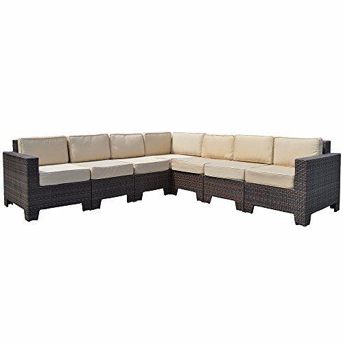 Premium Modular Corner Sofa Set Brown All Weather Rattan Garden Furniture