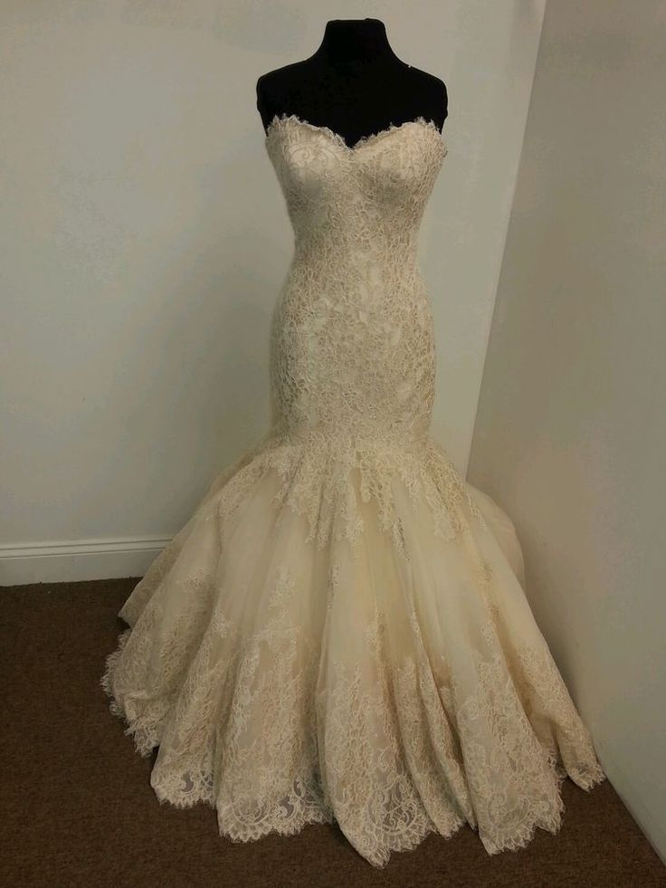 All Lace Gold Wedding Gown By Allure Bridal style C306  | eBay