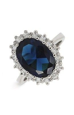 Ariella Collection Blue Stone And Cubic Zirconia Oval Ring