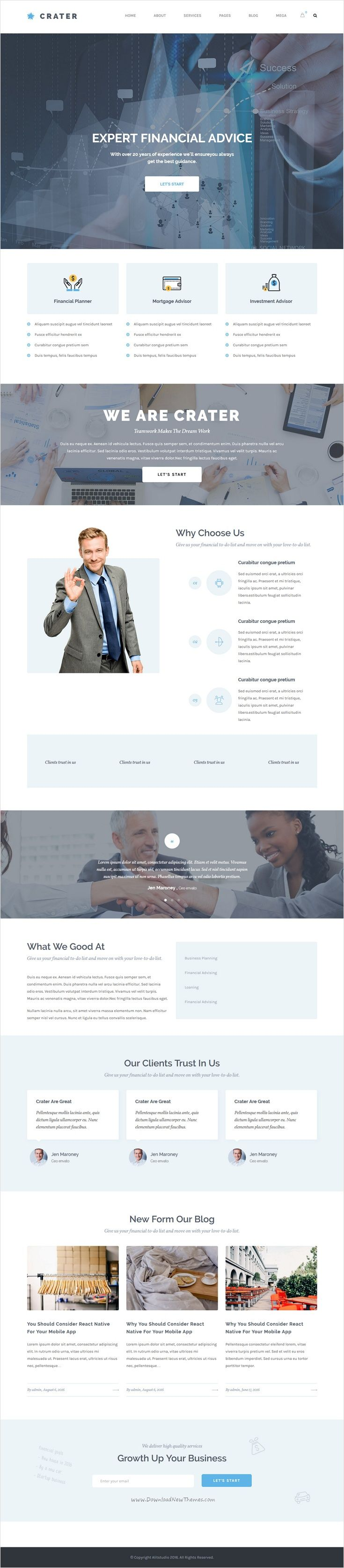 Crater is a wonderful #responsive #WordPress template for consulting #business or banking & financial website with 6 different homepage layouts download now➩ https://themeforest.net/item/crater-consulting-business-finance-wordpress-theme/17617893?ref=Datasata