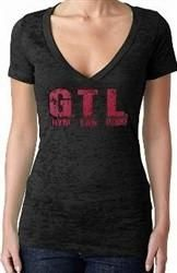GTL Gym Tan Laundry Hot Pink Distressed Burnout V-Neck W 339
