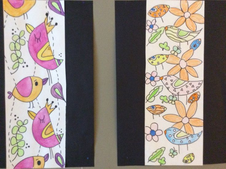 Wallpaper design made by students in grade 6.  Inspired by Spring.