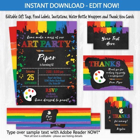 Art Party Invitations Art Birthday Invitations Art $12.50 #ArtPartyInvitations #ArtBirthdayInvitations #ArtBirthdayPartySupplies