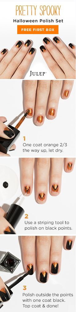 Get the polish colors used in this killer Halloween nail look for free when you join Julep Beauty Box. Julep sends you brand-new, can't-miss polish colors and beauty products every month. Offer ends 10/31/15.