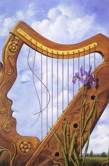 Surrealism artist Rafal Olbinski creates images in other objects which both relate to each other in this example a harp and a women, often both depicted for their beauty and peacefulness. And it's fantastic.