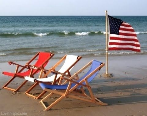 Red White And Blue Beach Chairs Summer Ocean Flag America 4th Of July