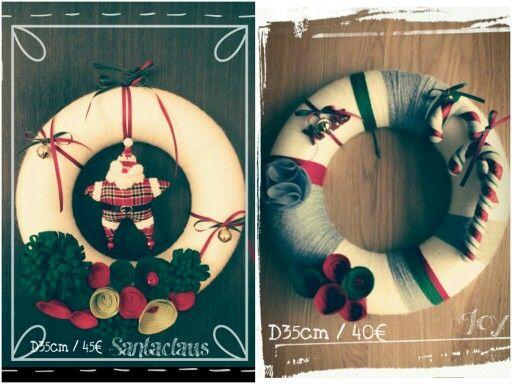 Χριστουγεννιάτικα Στεφάνια για την πόρτα σας!!!! Χειροποίητα απο φυσικό μαλλί και λουλούδια απο τσόχα με χριστουγεννιάτικα στολίδια!!! D35