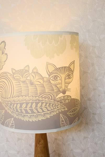 This beautiful lampshade depicting Mrs. Fox with her two cubs in a flowery dell, has been silk-screen printed by the lovely people at Lush Designs, based in Lo
