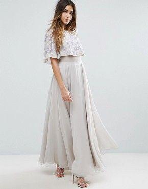 Compra Vestido largo con manga acampanada y detalle de adornos en la cintura  de ASOS CURVE en ASOS. Descubre la moda online.
