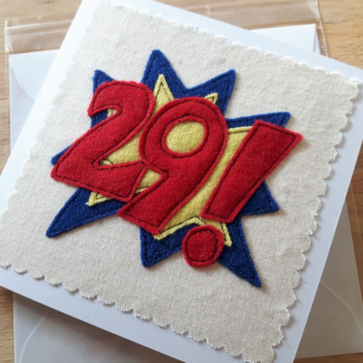 Number card, personalised textile birthday card