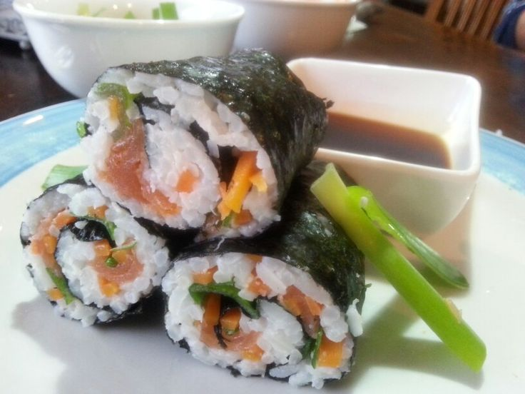 My sushi!  Salmon, steamed carrot, spring onions, sushi rice, rolled with seaweed Nori, served with Japanese style soy sauce.