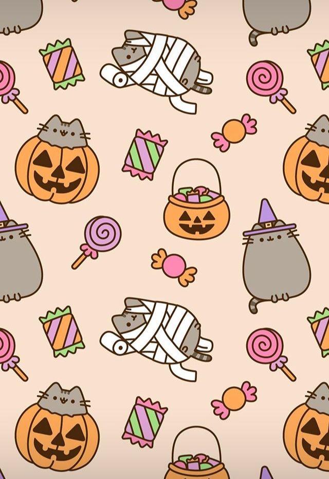 Pin By Livie Osborn On Aesthetic Halloween Wallpaper Pusheen Kawaii Halloween