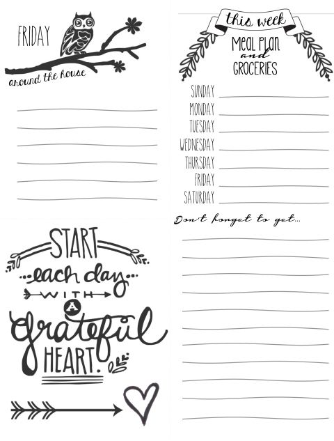 Free Daily Lists Printables - I like the idea of making the grocery list on the day you usually do that part of your schedule