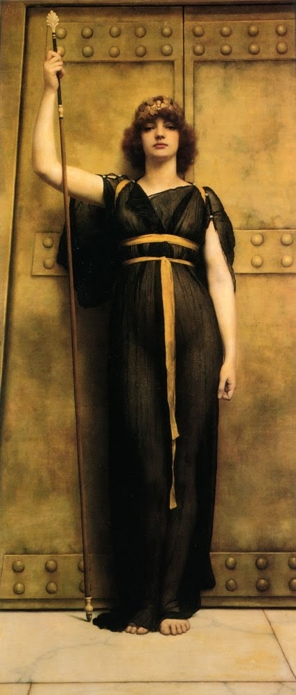 John William Godward (1861–1922). A Priestess (I need a really cool house with this color scheme so I can have this on my wall)