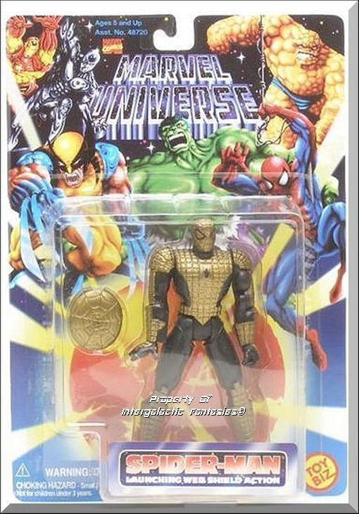 Includes Spider-Man Figure with Launching Web Shield Action, Web Shield. Brand new factory sealed. This Marvel Universe figure is a gold-painted variant of the Spider Armor figure.  Only $14.99 with Free Shipping!