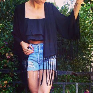 Black Fringe kimono