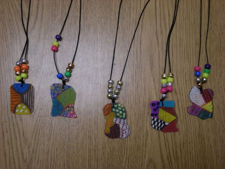 Art project idea for Teaching Abstract art- Abstract Necklace with beads