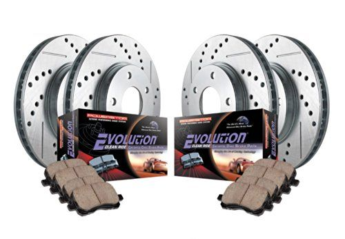 Shop For Power Stop K2015 Front/Rear Ceramic Brake Pad and cross punch Drilled/Slotted Combo Rotor One-Click Brake Kit