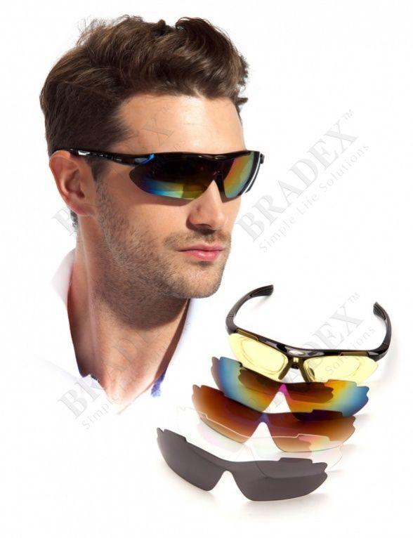 Очки спортивные солнцезащитные с 5 сменными линзами в чехле АРТИКУЛ: SF 0156 Часто тренируетесь на природе? Любите активный отдых, рыбалку, лыжный спорт? А машину водите? Тогда Вы точно оцените спортивные солнцезащитные очки с 5 сменными линзами! В комплект входят:  • 2 оправы для солнцезащитных и оптических линз; • желтые линзы для вождения и затемненные линзы-хамелеоны, защищающие глаза от яркого света; • повседневные линзы серого цвета; • прозрачные линзы для защиты глаз от попадания в…