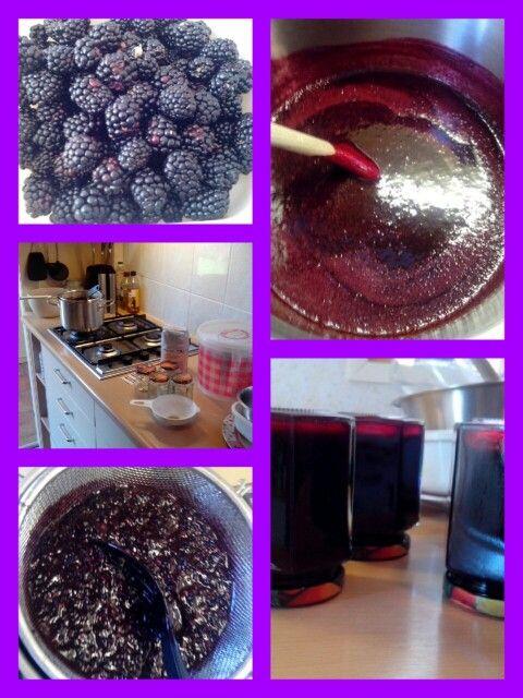 zelfgemaakte bramenjam met bramen uit de moestuin. Home made blackberry jam from our kitchen garden.
