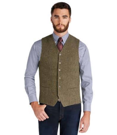 1905 Collection Tailored Fit Tweed Vest