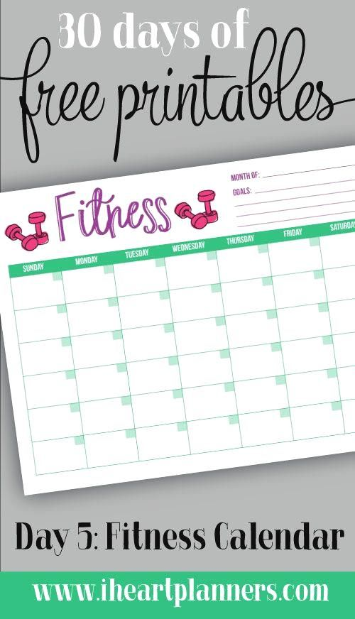 Calendario Fit.30 Days Of Free Prin 30 Days Of Free Printable Monthly