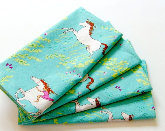 Cloth Napkins  Set of 4  Aqua Green Horses  Dinner by ClearSkyHome