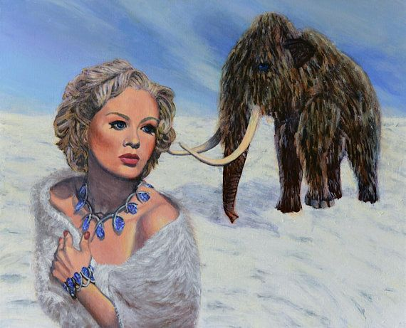 Original Painting on canvas acrylic ready to hang mammoth retro ice snow antartic artic pulp woolly icy doom animal cold art Jane Ianniello