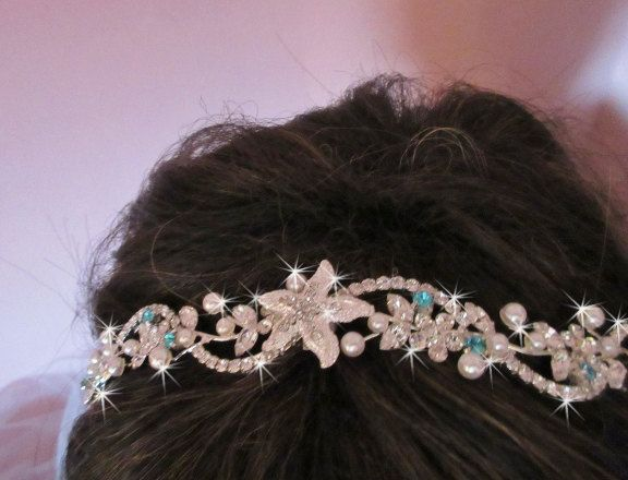 Custom Made Rhinestone Beach Wedding Tiara, Wedding Headband, Bridal Tiara Crown, Starfish Headband, Something Blue Rhinestone Tiara by bridalambrosia on Etsy