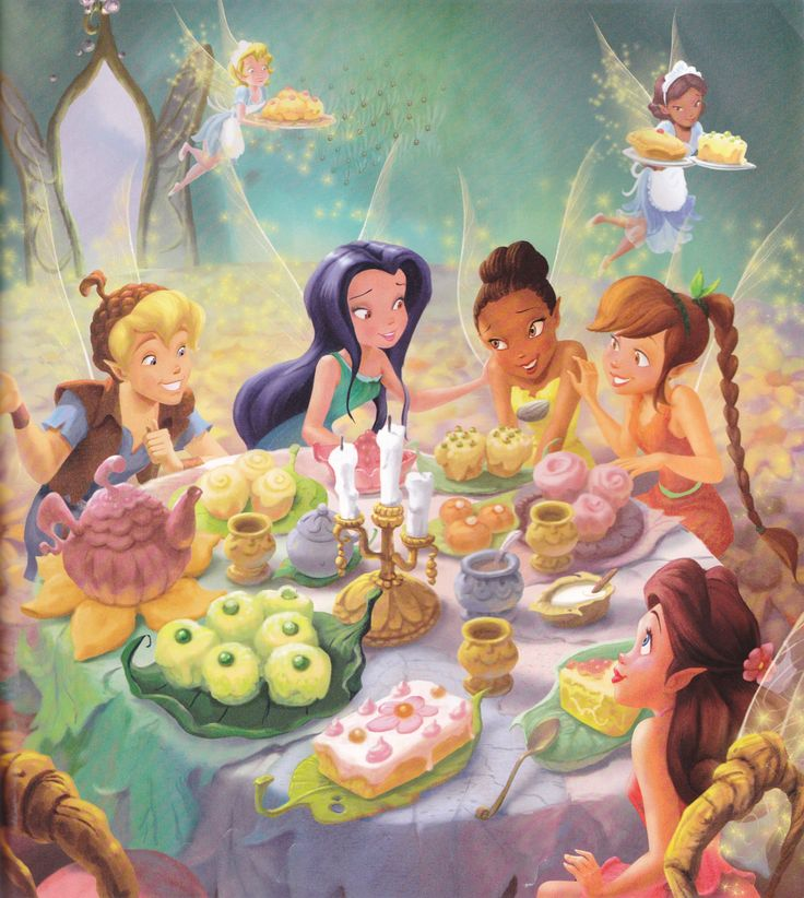 Tinkerbell and her friends have a tea party