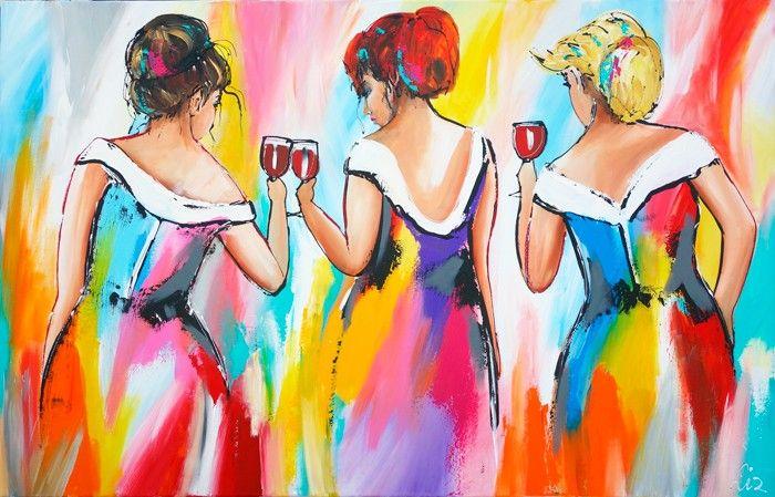 Vrolijk Schilderij Vrolijke dames