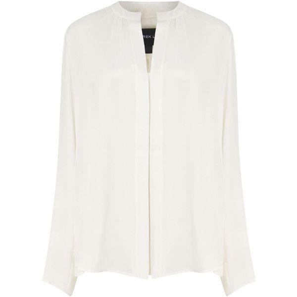 Derek Lam White Silk Nehru Collar Blouse found on Polyvore featuring tops, blouses, shirts, long sleeves, loose shirts, long sleeve blouse, shirt blouse, white long sleeve blouse and white top
